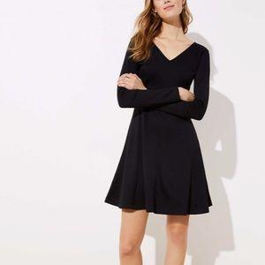 LOFT V-neck long sleeve fit and flare dress size 8